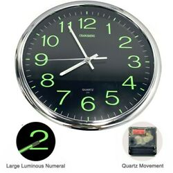 Wall Clock Glow In The Dark Silent Quartz Indoor Outdoor Luminous Decor 12''