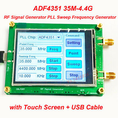 Adf4351 35m-4.4g Rf Signal Generator Pll Sweep Frequency Generator Touch Screen