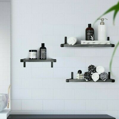 Under.Stated Wall Mounted MDF Shelves   Rustic Grey   Set of 3   Metal Brackets Rustic Wall Bracket