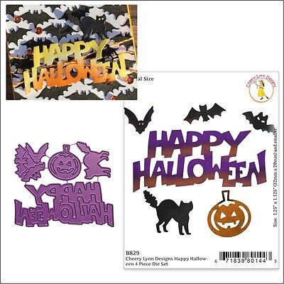 Happy Halloween Metal Die set Cheery Lynn Cutting Dies B829 cat words pumpkin