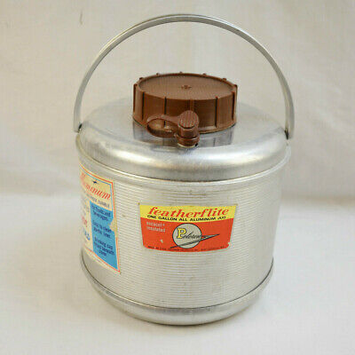 VINTAGE 1960s POLORON FEATHERFLITE ALUMINUM PICNIC CAMPING 2g JUG THERMOS COOLER