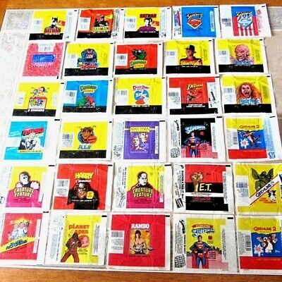 RAR SET LOT OF VINTAGE TRADING CARD WRAPPERS TOPPS PLANET OF APES RAMBO ALF E.T.