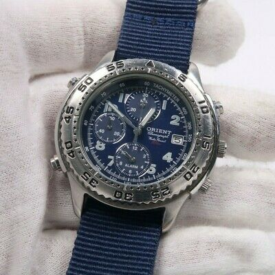 ORIENT ALARM CHRONOGRAPH WATER RESIST 10BAR HFAE12CA Mens Watch Japan