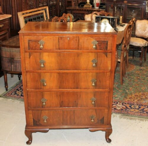 English Antique Burl Walnut Wood Queen Anne Chest of Drawers | Bedroom Furniture