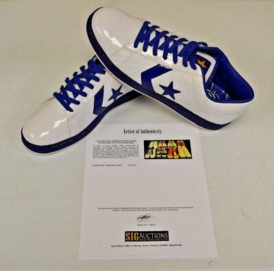 Converse White Blue Basketball Shoes sz 14 DWAYNE WADE Personal Owned w COA #14 - Personalized Converse Shoes