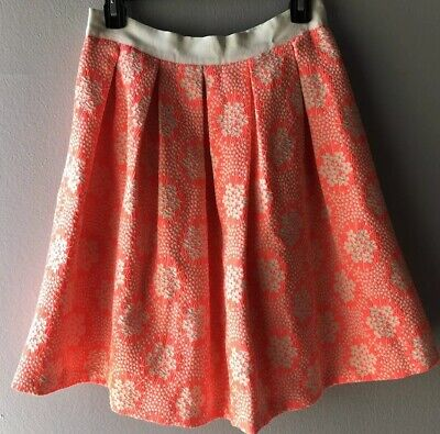 - Boden Arianna Jacquard Pink Cream Neon Floral A Line Pleated Skirt Size 4R