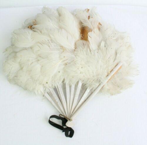 Vintage Antique Hand Held Fan Wood Sticks Feathers