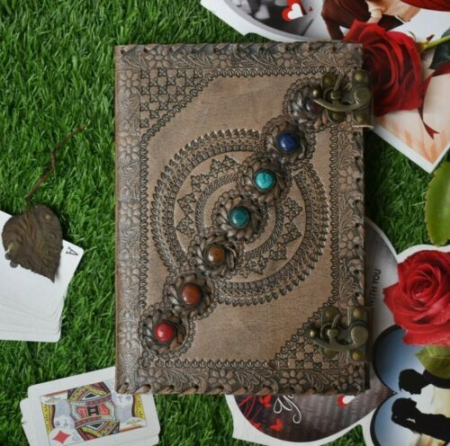 book of shadows deckle edge paper seven stone chakra leather journal 10x7 inch