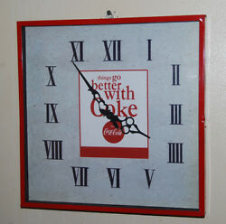 LARGE RED 15 Square Vintage COKE Coca Cola Metal WALL CLOCK