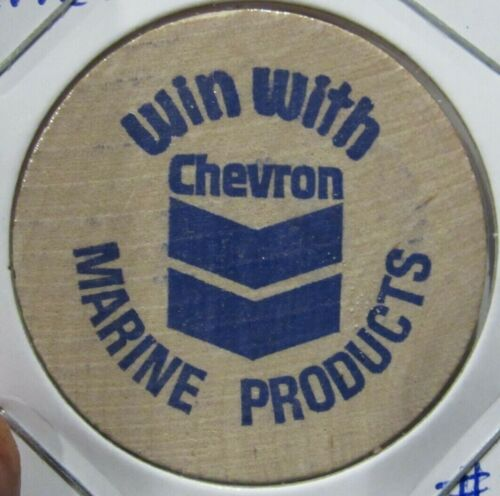 Vintage Win With Chevron Marine Products Wooden Nickel - Token Gas Fuel Oil #2