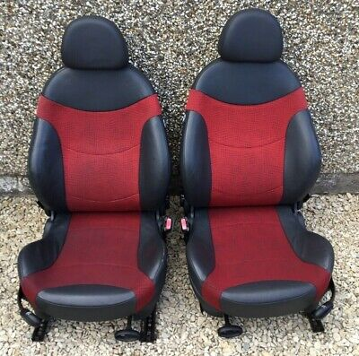 R50 R53 Mini Cooper S One Complete Front Half Leather Seats - Red & Black