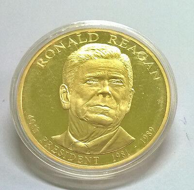 Ronald Regan Presidential Dollar Trials American Mint COA 2 Inches Big
