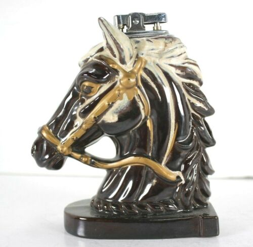"""Vintage Ceramic Chess Knight Horse Head Table Top Lighter Japan  6"""""""