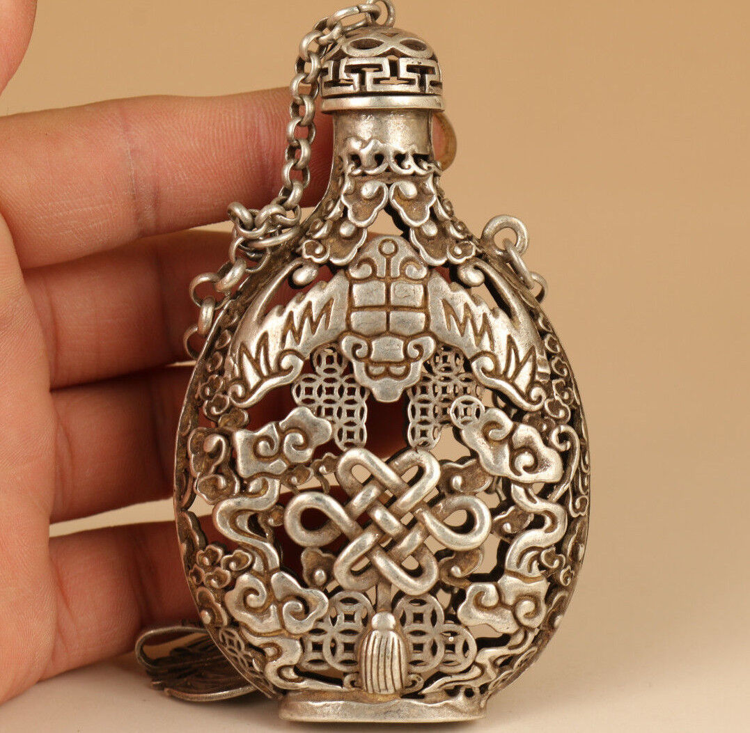 Rare Tibet Silver Copper Chinese Old Carved Statue Gourd Snuff Bottle Netsuke