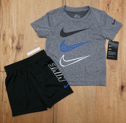 Nike Boy 2 Piece T-Shirt & Shorts Set ~ Gray, Black, Blue & White ~ DRI-FIT