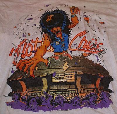 Motley Crue Very Rare 1987 VTG Original Kickin ass On The Wild Side L Tour Shirt