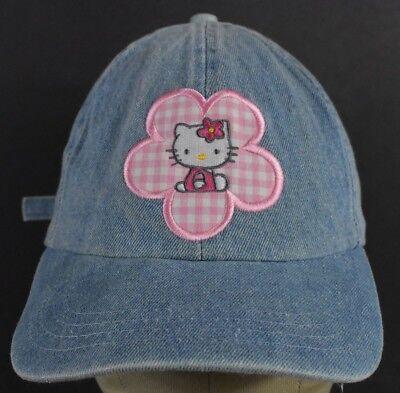 Blue Jean Hello Kitty Logo Flower Embroidered Baseball Hat Cap Adjustable Strap Hello Kitty Baseball