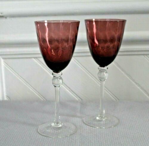 VINTAGE ? OPTIC AMETHYST & CLEAR WINE GLASS SET Of 2 - TALL BARWARE