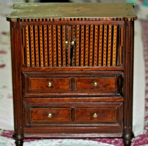 Louis XVI Miniature Playing Card Gaming 3 Drawer Commode Tambour Doors 18th Cent