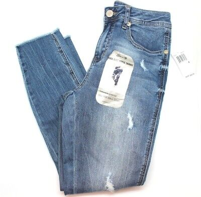 Seven7 Ladies Frayed Distressed High Rise Jeans Light Blue Size 14