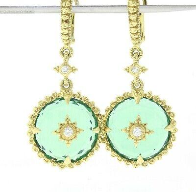 JUDITH RIPKA 18k Gold Green Goddess Chalcedony & .20ct Diamond Dangle Earrings