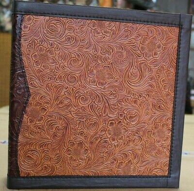 Chestnut W Choco Trim Western Floral Embossed Cowhide Leather 2 3 Ring Binder