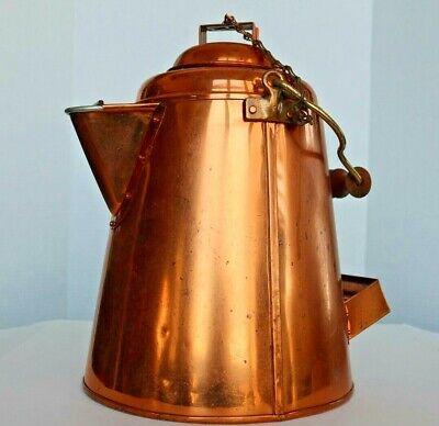 Large Antique Primitive Copper Coffee Pot Kettle great shape frontierFarmhouse