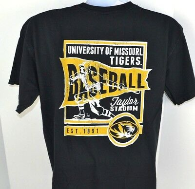 MISSOURI TIGERS Baseball Banner Tee Comfort Colors T-Shirt L 2-Side Print