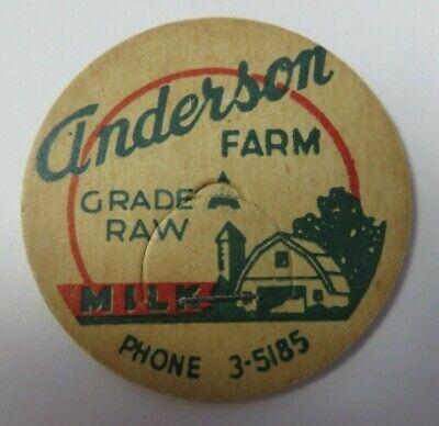 """Vintage Milk Bottle Cap 1 & 5/8"""" ANDERSON FARM Dairy Grade A Raw Advertising"""