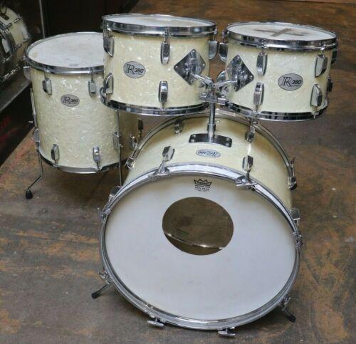 Rogers 4pc R-380 Drum Set White Marine Pearl Vintage 1960