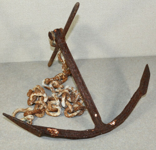 """Vintage Iron Boat Anchor with Chain. 16"""" Wide 12"""" Tall"""