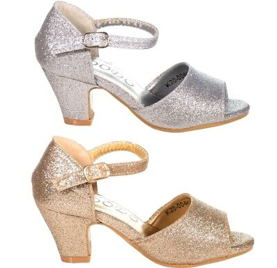 Girls Toddlers & Youth Pageant Formal Party Silver Gold Glitter Shoe size 9-4 (Girls Gold Party Shoes)