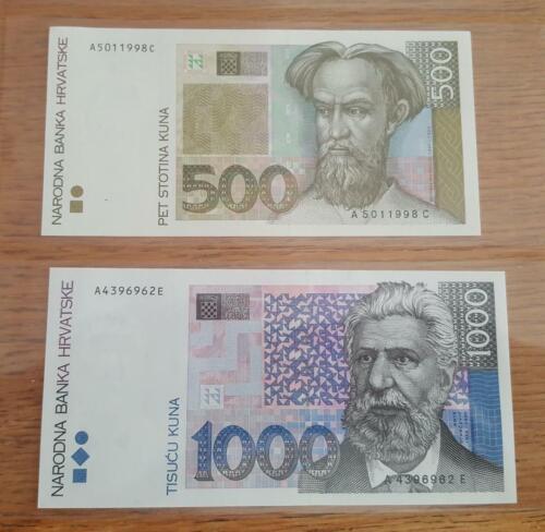 CROATIA - 500 and 1000 kuna 1993 UNC