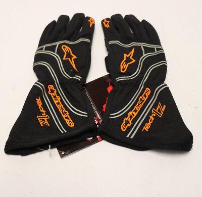 ALPINESTARS GLOVES Tech 1-Z Nomex SFI Black Auto Racing Homologated Large L  NEW Nomex Racing Gloves