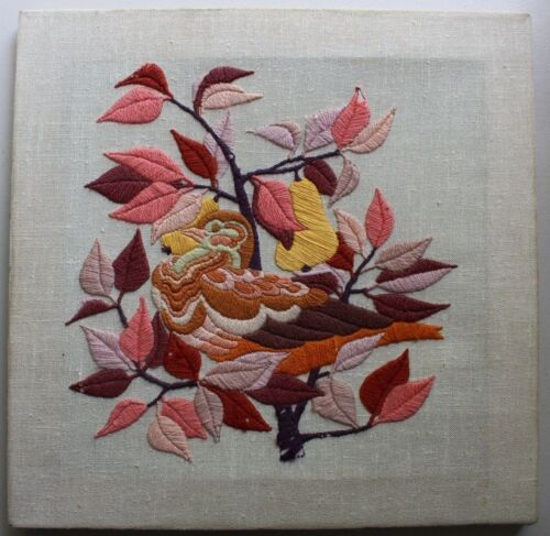Vintage Partridge In A Pear Tree Crewel Embroidery Completed Finished Unframed