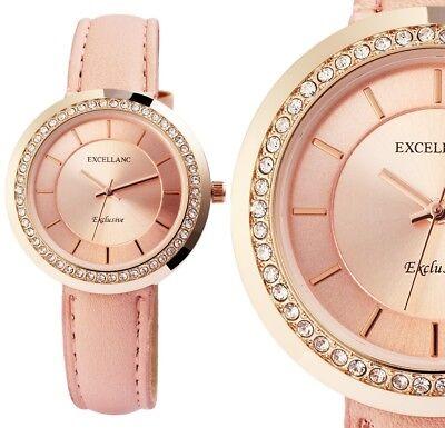 Damen Armbanduhr Rosa/Rotgold Peach Crystal Kunstlederarmband 1900099 Excellanc