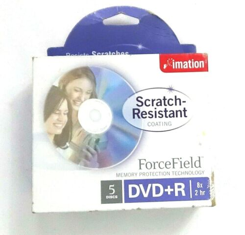 Imation Scratch Resistant Forcefield 5PK DVD+R Discs Memory Protection Durable