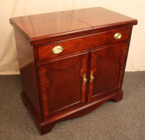 Thomasville Dining Room Server Buffet Bar Cart Cabinet Flip Top Mahogany