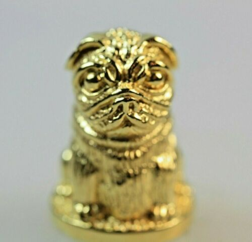 PUG DOG GOLD PLATED STERLING SILVER THIMBLE