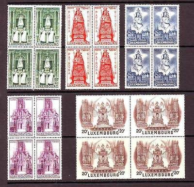 a122 - LUXEMBOURG - SG464-468 MNH 1945 OUR LADY OF LUXEMBOURG - BLOCKS OF 4