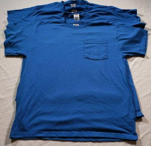 Lot of 4 Vintage Fruit of the Loom Best Pocket T-Shirt Blue Shirt 50/50