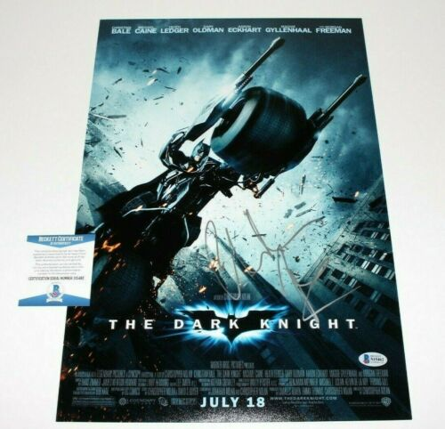 CHRISTIAN BALE SIGNED 'THE DARK KNIGHT' 12x18 MOVIE POSTER BECKETT COA BATMAN 1