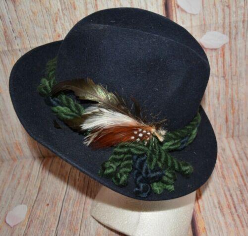 Vintage Austrian Bavarian Felt Hat  German Oktoberfest Hat with Pins
