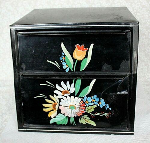 Vintage Bread Box Pie Safe Metal Black Enamel with Floral Design