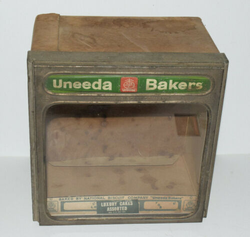 Uneeda Bakers Nabisco National Biscuit Company Tin Glass Display Box Gas Station
