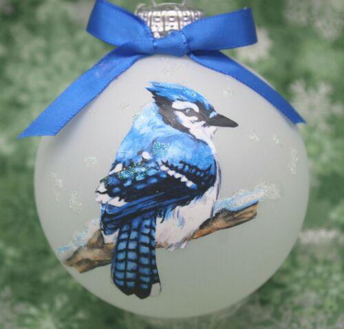 B008 Hand-made Christmas Ornament - wild bird - male blue jay