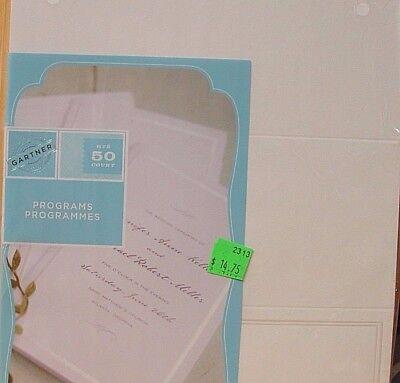 Gartner 61302 Border Tri-Fold Wedding Program Papers Pearl White Border 50-Count - Wedding Program Paper