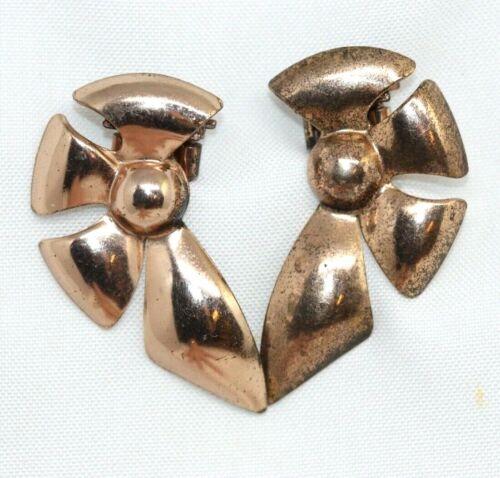 Set of Vintage Sterling Silver Fur Clips Rose Gold Vermeil Dress Shoe Scarf Pins