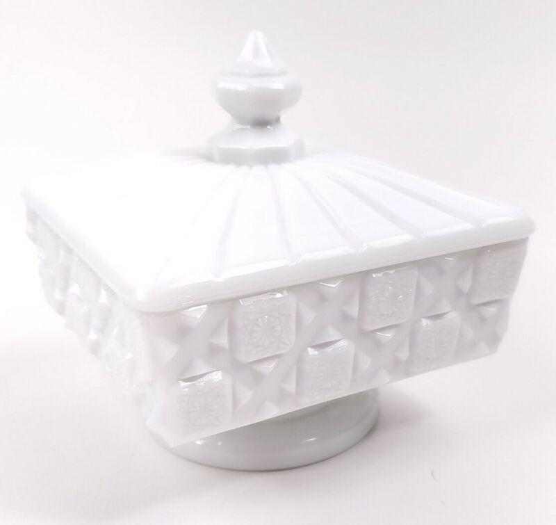 Westmoreland Milk Glass Old Quilt Pattern Lidded Compote Square Candy Dish