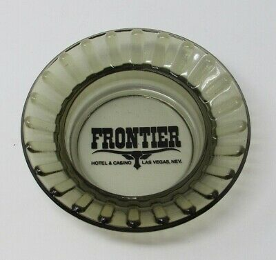 Vintage Frontier Hotel Casino Smokey Glass Advertising Ashtray Las Vegas Nevada